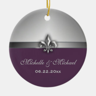 Personalized Silver Purple Fleur de Lis Christmas Ornament