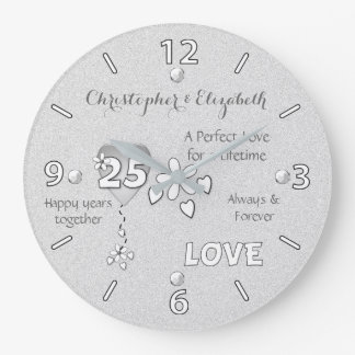 Personalized Silver Wedding 25th Anniversary Clock