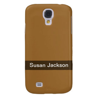 Personalized simple brown color galaxy s4 cases