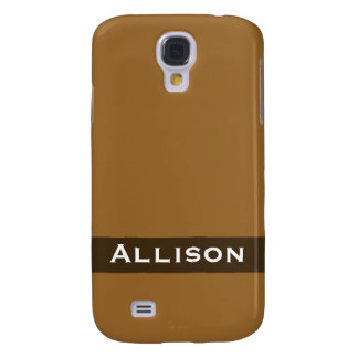 Personalized simple brown color galaxy s4 covers