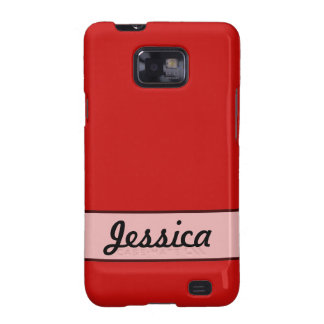 Personalized Simple red color Galaxy S2 Cases
