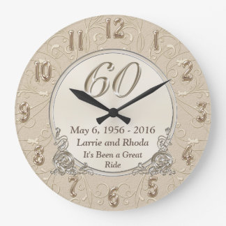 Personalized Sixtieth Wedding Anniversary Gifts Wallclock