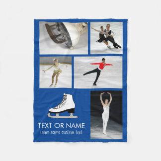 Personalized Skating Photo Collage Skater's Name Fleece Blanket