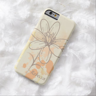 Personalized Sketched Floral on Watercolor Splats Barely There iPhone 6 Case