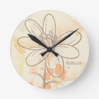 Personalized Sketched Floral on Watercolor Splats Round Clock