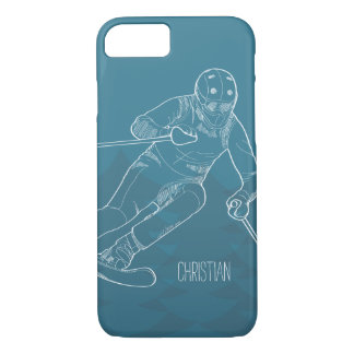 Personalized Skier Sketched Drawing on Blue iPhone 7 Case