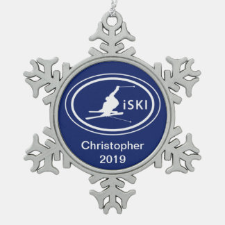 Personalized Skiing iSKI Oval Mountain Ornament