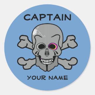 Personalized skull and Cross bones Round Sticker