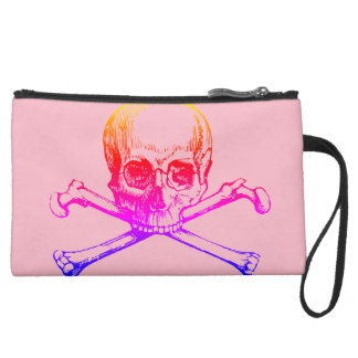 Personalized Skull and Crssbones in Pink  Wristlet