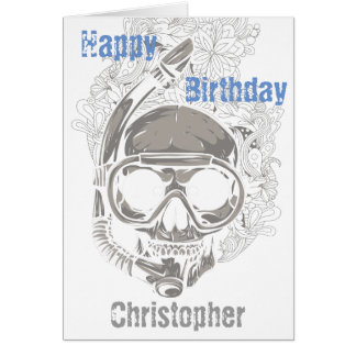 Personalized Skull Scuba Diver Happy Birthday Greeting Card