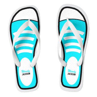 Personalized Sky Blue Sneakers Flip Flops