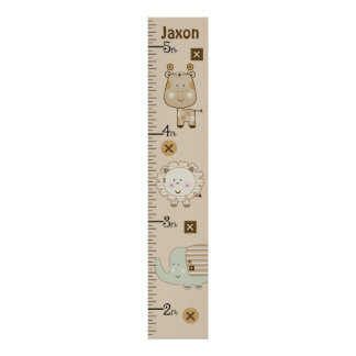 Personalized Sleepy Safari Animals Growth Chart