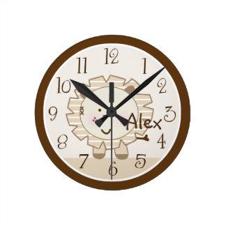 Personalized Sleepy Safari Lion Clock