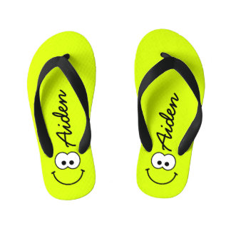 Personalized Smiley Green Flip Flops