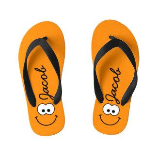 Personalized Smiley Orange Flip Flops