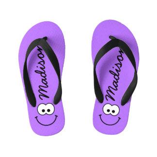 Personalized Smiley Purple Flip Flops