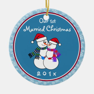 Personalized-Snow Couple's Our 1st Christmas Round Ceramic Decoration