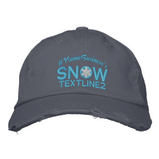 Personalized Snow Embroidered Snowflake Baby Blue Embroidered Hats