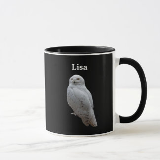 Personalized Snow Owl On Black Mug