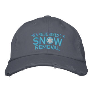 Personalized Snow Removal Snowflake Baby Blue Embroidered Cap