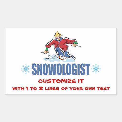 Personalized Snow Skiing Rectangular Sticker