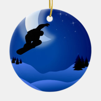 Personalized Snowboarding with Moon Mountain Christmas Ornament