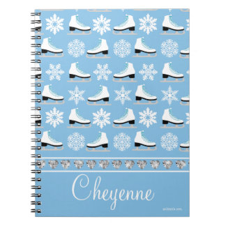 Personalized Snowflakes and Figure Skates Pattern Notebooks