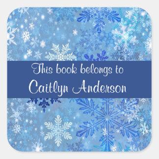 Personalized Snowflakes Bookplate Sticker Square Sticker