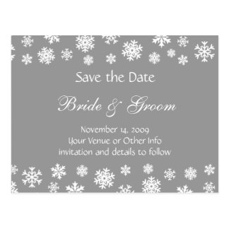 Personalized Snowflakes Save the Date Post Cards