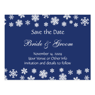 Personalized Snowflakes Save the Date Postcard