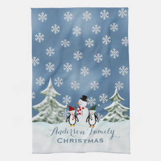 Personalized Snowman And Penguin Kitchen Towel