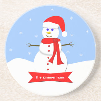 Personalized Snowman Christmas Coaster
