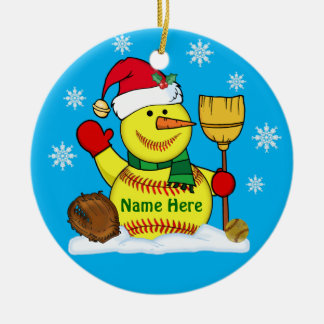 Personalized Snowman Christmas Softball Ornaments