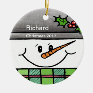 Personalized Snowman Face Ornament