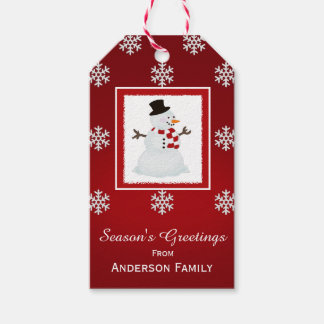 Personalized Snowman Red Gift Tags