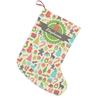 Personalized Snowman Retro Christmas Pattern Small Christmas Stocking