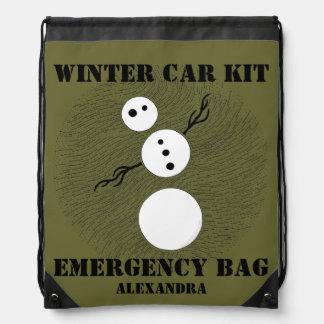 Personalized Snowman Winter Car Kit Emergency Pack Rucksack