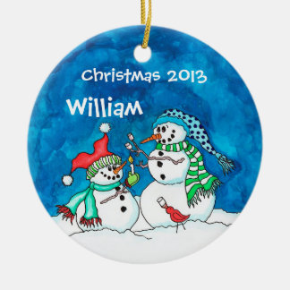 Personalized Snowmen with Marshmellows Ornament