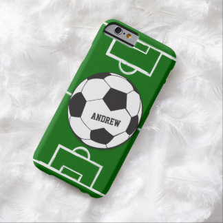 Personalized Soccer Ball and Field Barely There iPhone 6 Case