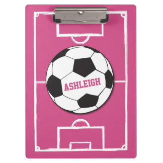 Personalized Soccer Ball and Field Pink Clipboard