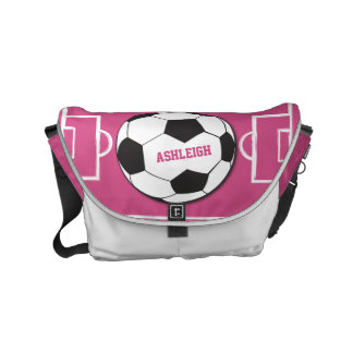 Personalized Soccer Ball and Field Pink Courier Bag