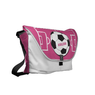 Personalized Soccer Ball and Field Pink Messenger Bags