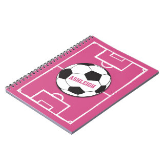 Personalized Soccer Ball and Field Pink Notebook