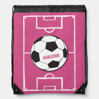 Personalized Soccer Ball and Field Pink Drawstring Bag