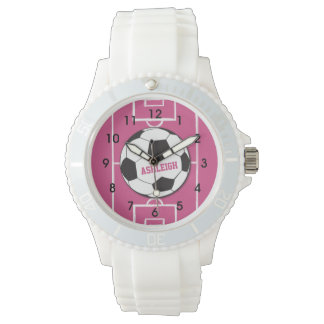 Personalized Soccer Ball and Field Pink Wristwatches