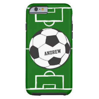 Personalized Soccer Ball and Field Tough iPhone 6 Case