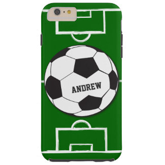 Personalized Soccer Ball and Field Tough iPhone 6 Plus Case