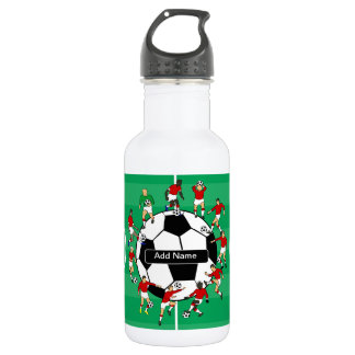 Personalized soccer ball and players 532 ml water bottle