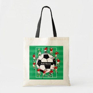 Personalized soccer ball and players budget tote bag