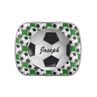 Personalized Soccer Ball on Football Pattern Candy Tins